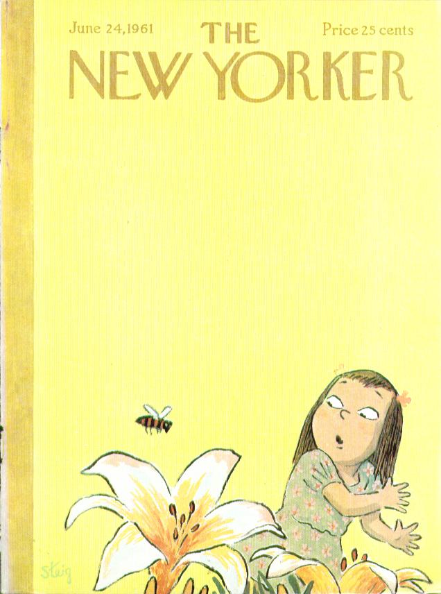 New Yorker cover Steig little girl flower bee 6/24 1961