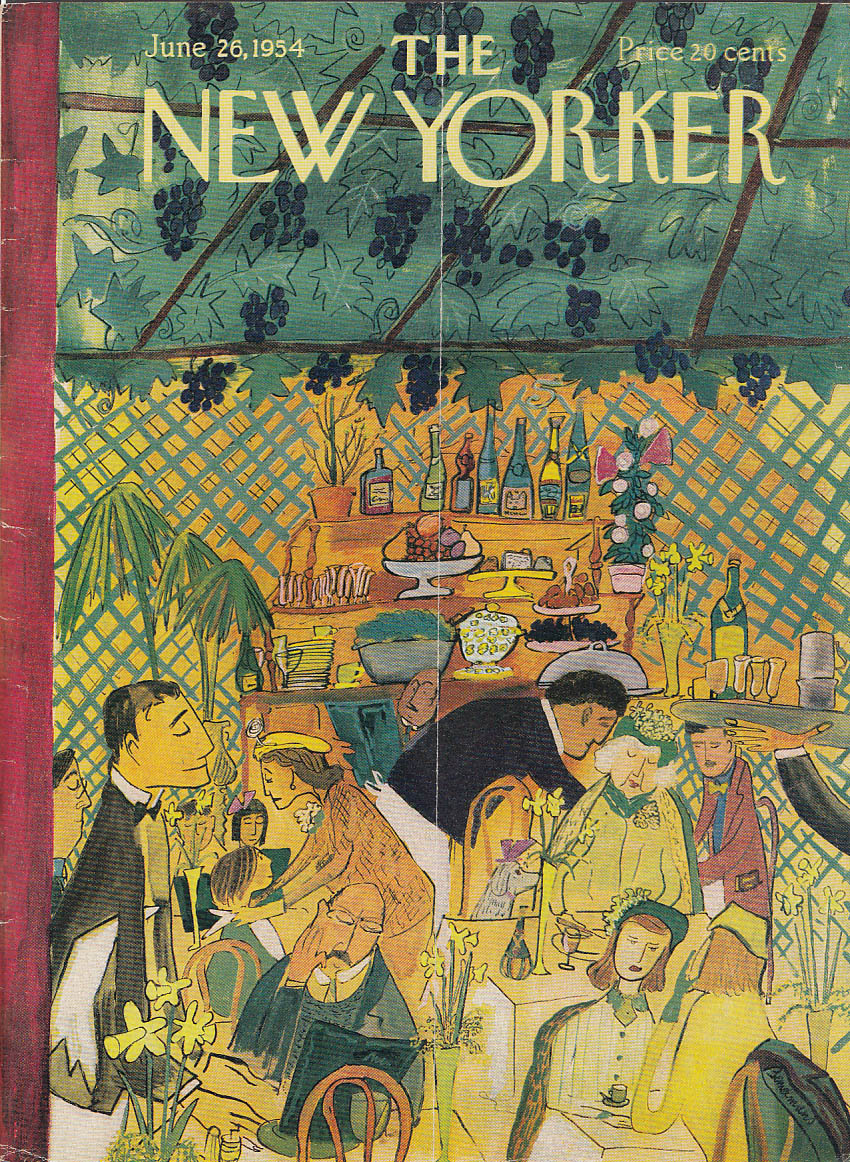 New Yorker cover Bemelmans outdoor café wine 6/26 1954