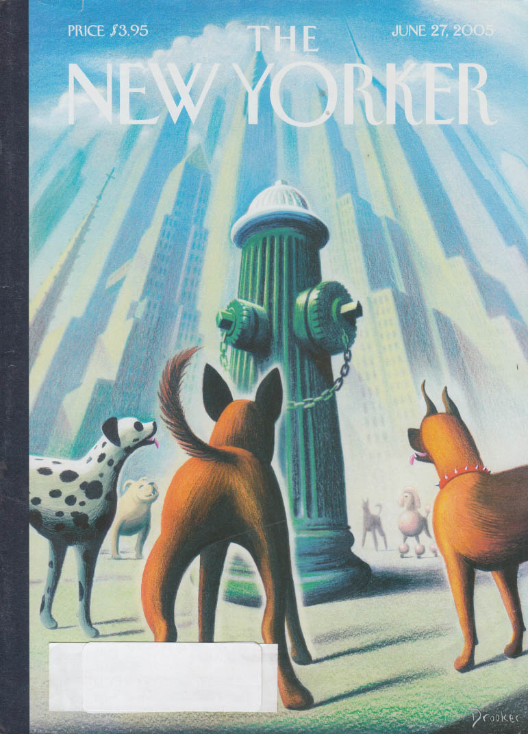 New Yorker cover 6/27 2005 Drooker: dogs worship at enormous fire hydrant
