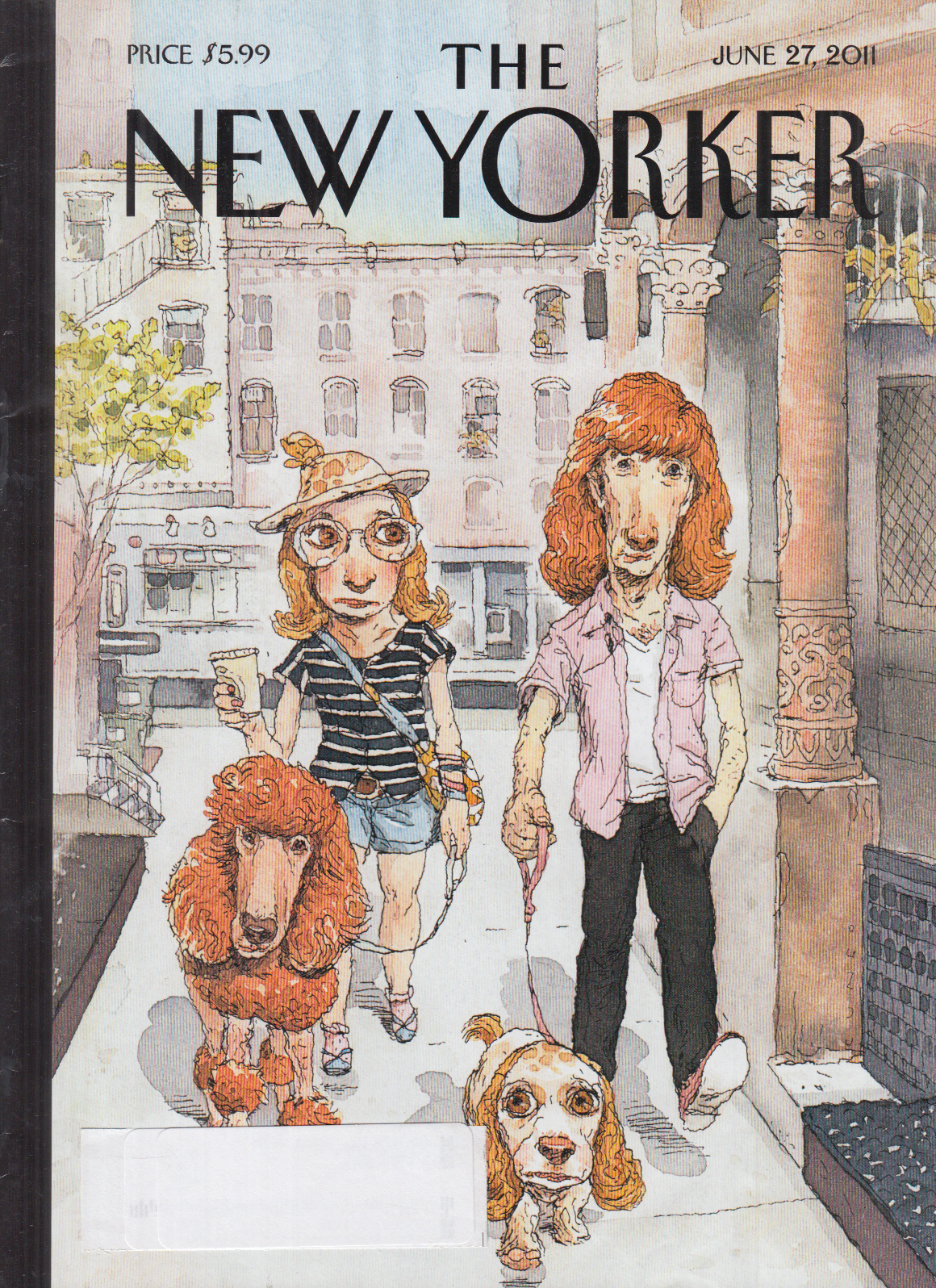 new yorker cover cuneo 6 27 2011 two dog walkers match each other s dogs