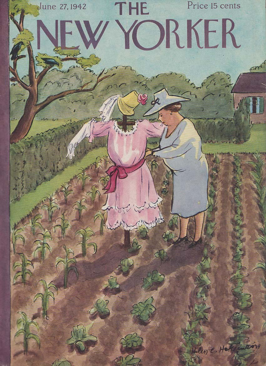 New Yorker cover 6/27 1942 Hokinson matron dresses scarecrow in pink frock