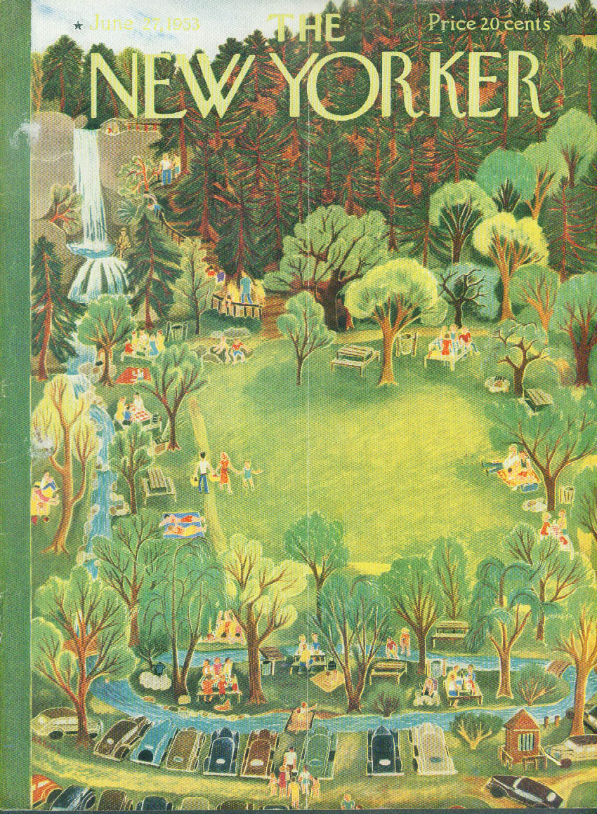 New Yorker cover Karasz park picnic woods 6/27 1953