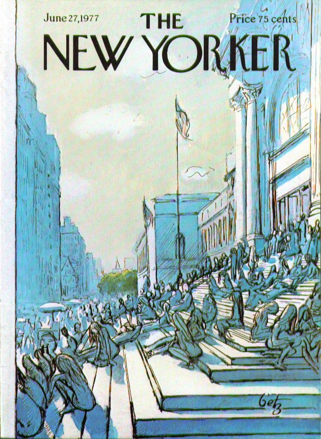 New Yorker cover Getz lunch on the Met steps 6/27 1977
