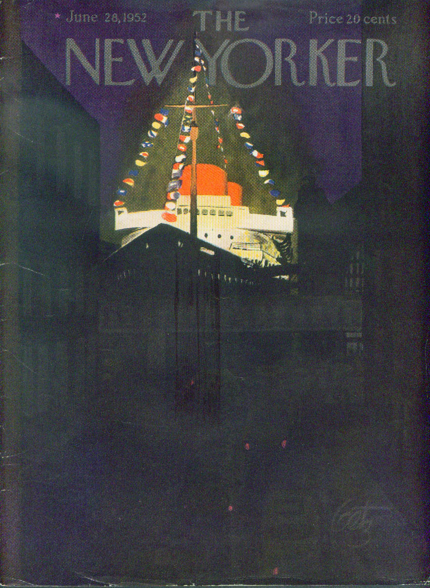 New Yorker cover Getz cruise ship night 6/28 1952