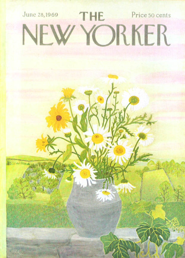 New Yorker cover Karasz daisy-filled pot 6/28 1969