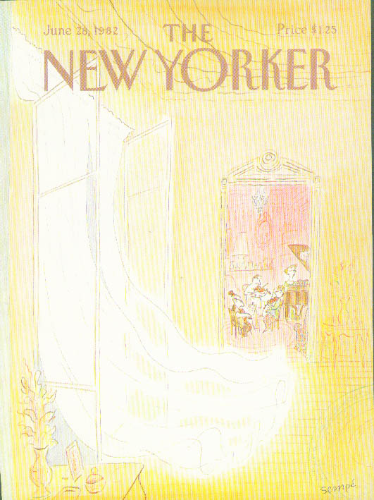 New Yorker cover Sempe string trio in parlor 6/28 1982