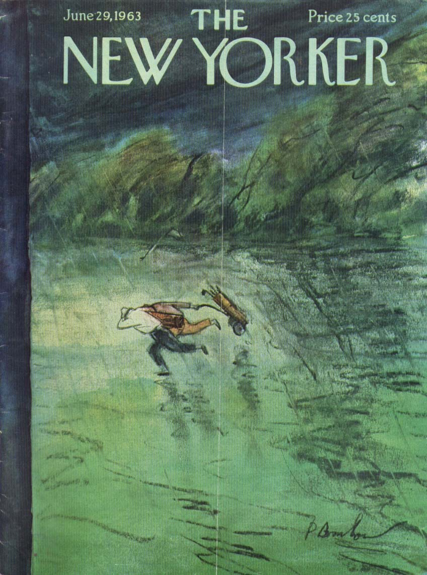 New Yorker cover Barlow rain chases golfers 6/29 1963
