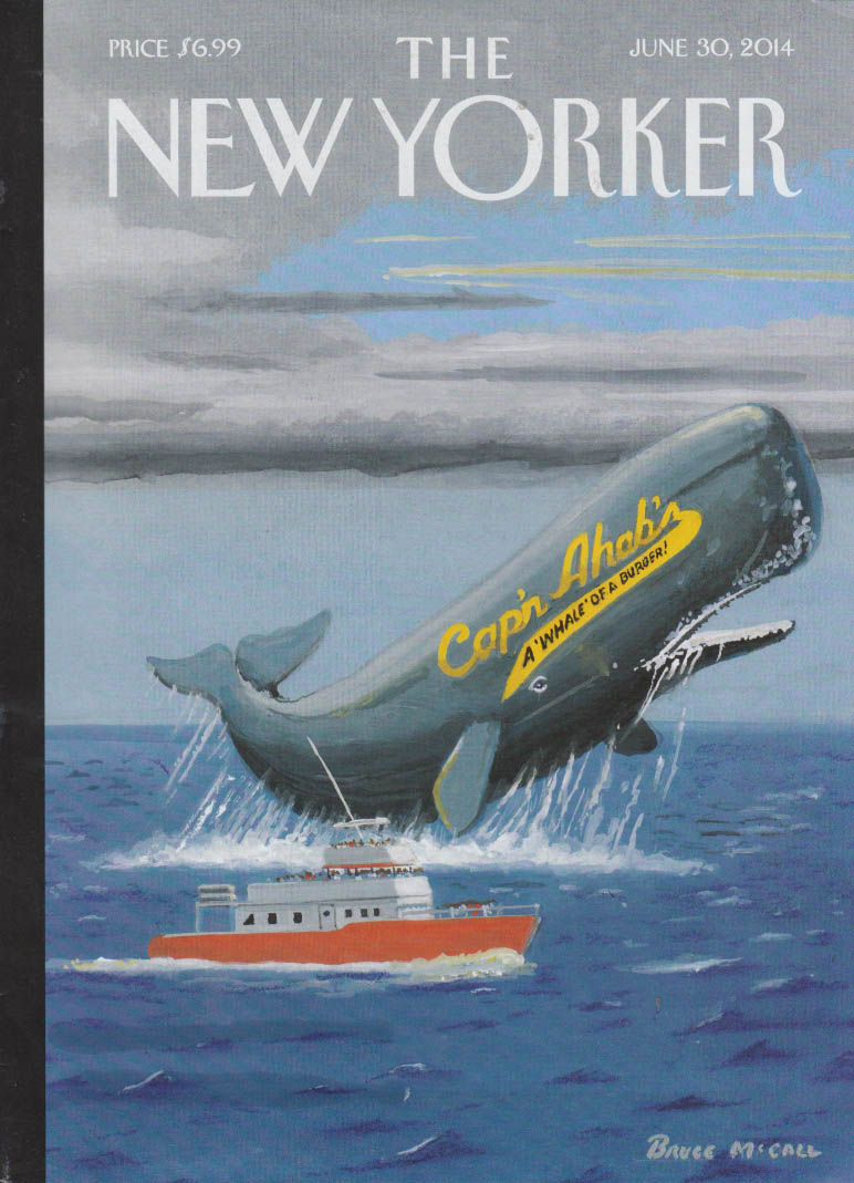 New Yorker cover 6/30 2014 McCall Cap'n Ahab sperm whale breaching for tourists