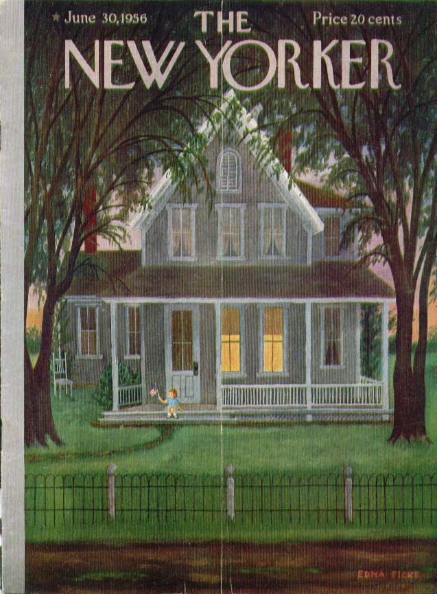 New Yorker cover Eicke kid flag front porch 6/30 1956