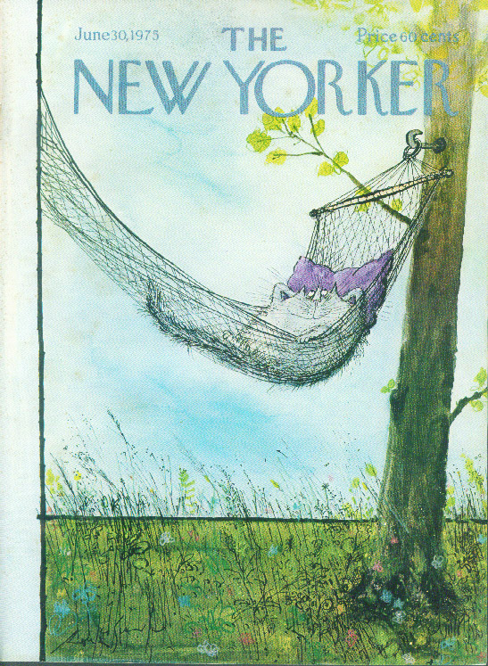 New Yorker cover Searle Smiling Cat relaxes in hammock 6/30 1975