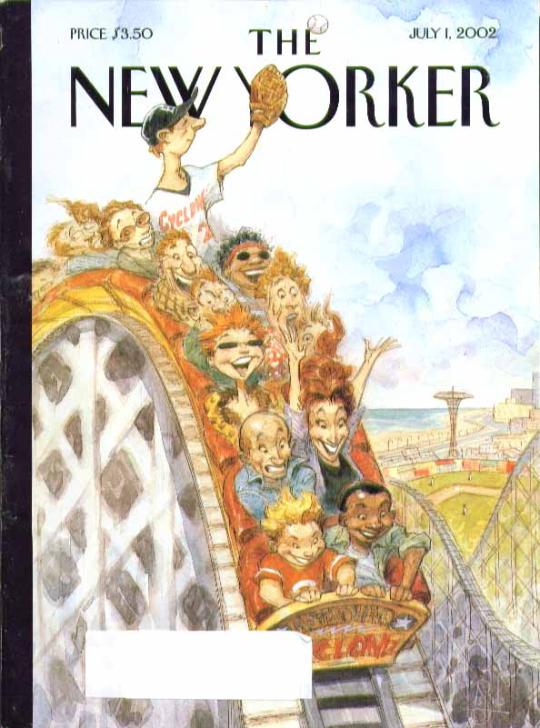 Image for New Yorker cover Peter De Seve ballplayer catches fly on rollercoaster 7/1 2002