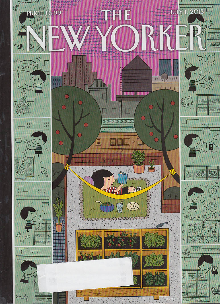 New Yorker cover 7/1 2013 Brunetti: Kid's compartmentalized Brownstone life