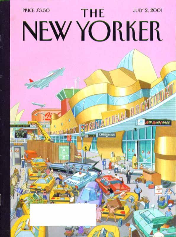 New Yorker cover Bruce McCall JFK International Rocketport traffic jam 7/2 2001