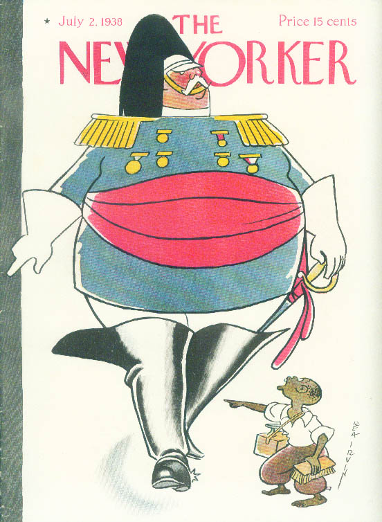 New Yorker cover Rea Irvin tiny Negro shoeshine boy v Parade Major 7/2 1938
