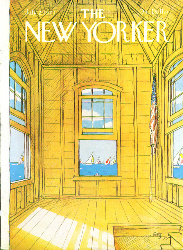 New Yorker cover Getz boathouse tower view 7/2 1979
