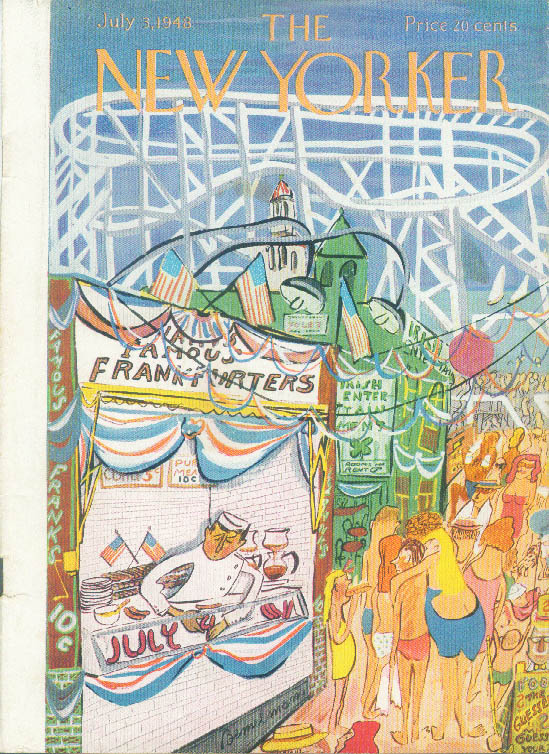 New Yorker cover Bemelmans Hot dog stand roller coaster Coney Island 7/3 1948