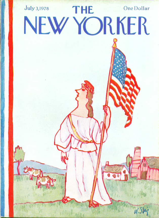 New Yorker cover Steig Miss Columbia with flagstaff in cow field 7/3 1978