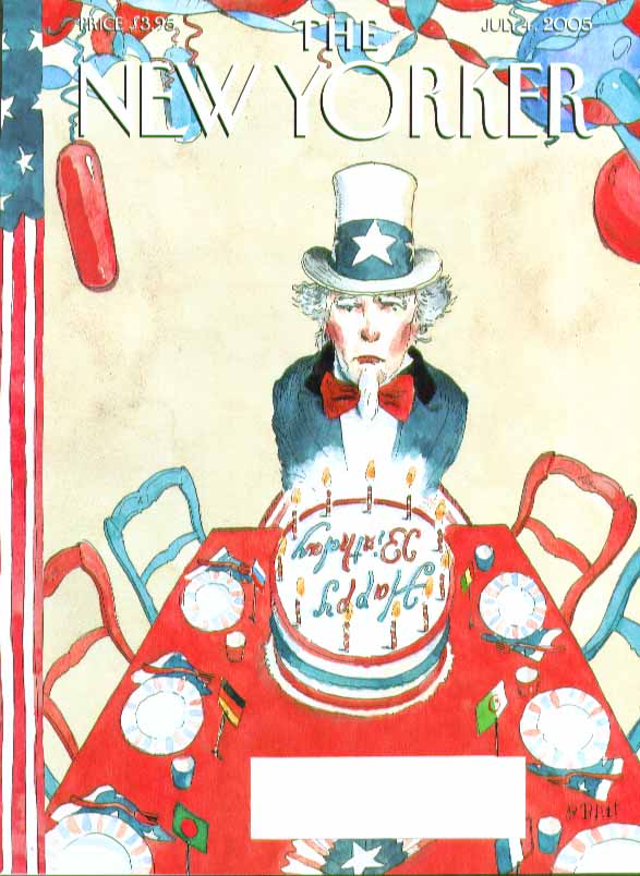 New Yorker cover Barry Blitt Uncle Sam all alone at birthday party 7/4 2005