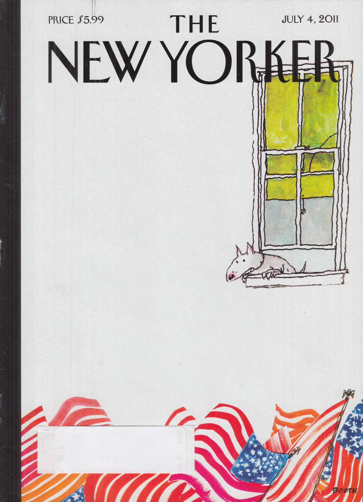 New Yorker cover Booth 7/4 2011 Bull terrier watches parade from window