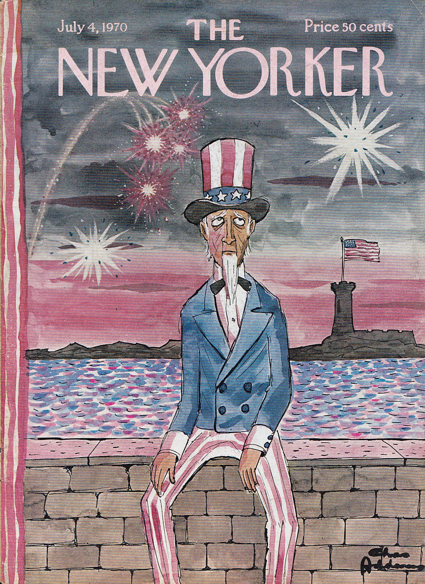 New Yorker cover Addams Uncle Sam doesn't like Bombs bursting in air 7/4 1970