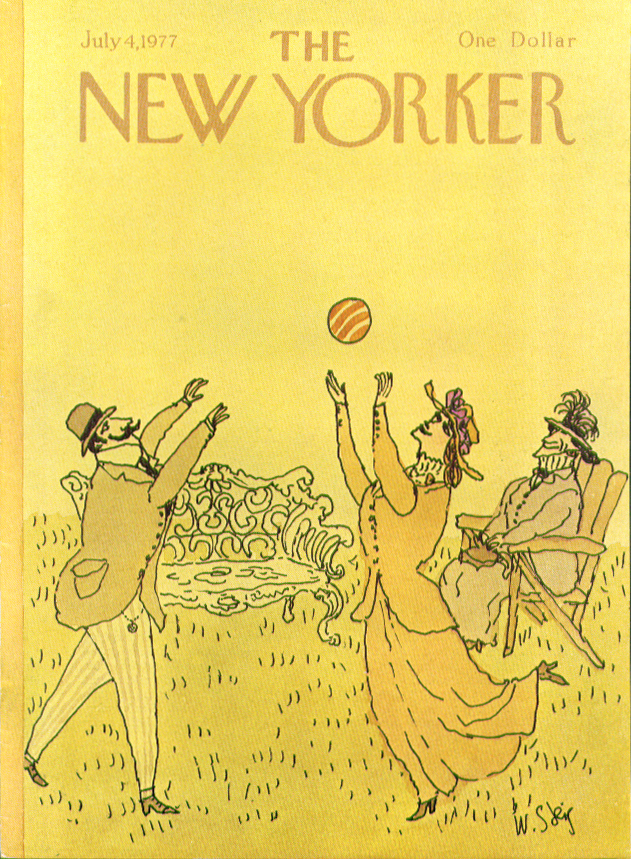 Image for New Yorker cover Steig Victorian volleyball 7/4 1977