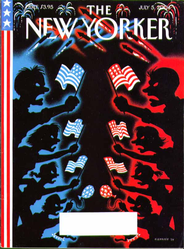 Image for New Yorker cover Niemann blue state vs red state flag wavers 7/5 2004