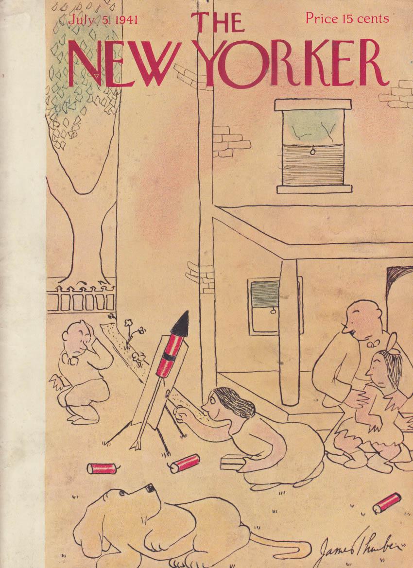New Yorker cover 7/5 1941 James Thurber mother lights off a skyrocket