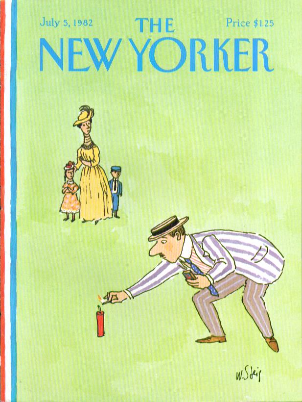 New Yorker cover Steig man lights firecracker as family looks on 7/5 1982