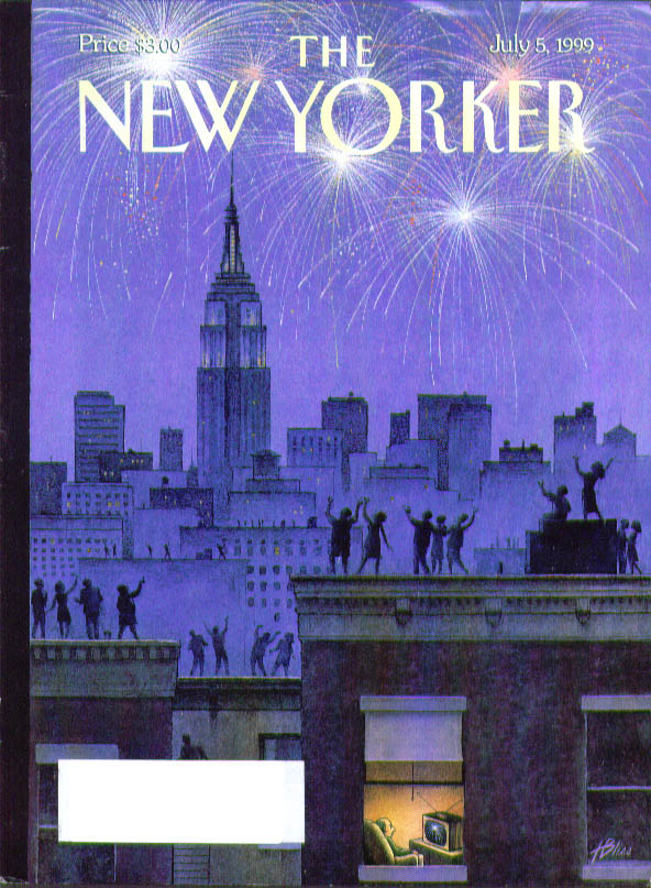 New Yorker cover Bliss Rooftop crowd fireworks; man watches same on TV 7/5 1999