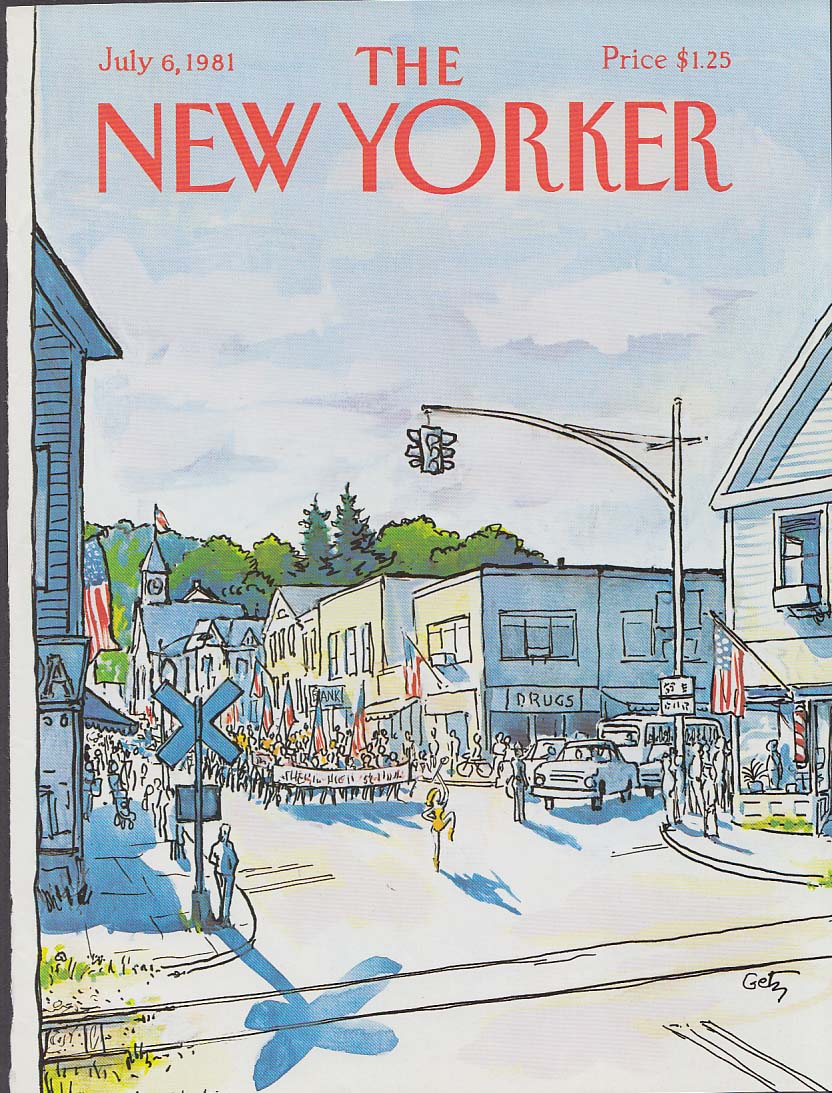 New Yorker cover 7/6 1981 Getz town 4th of July parade approaches RR tracks