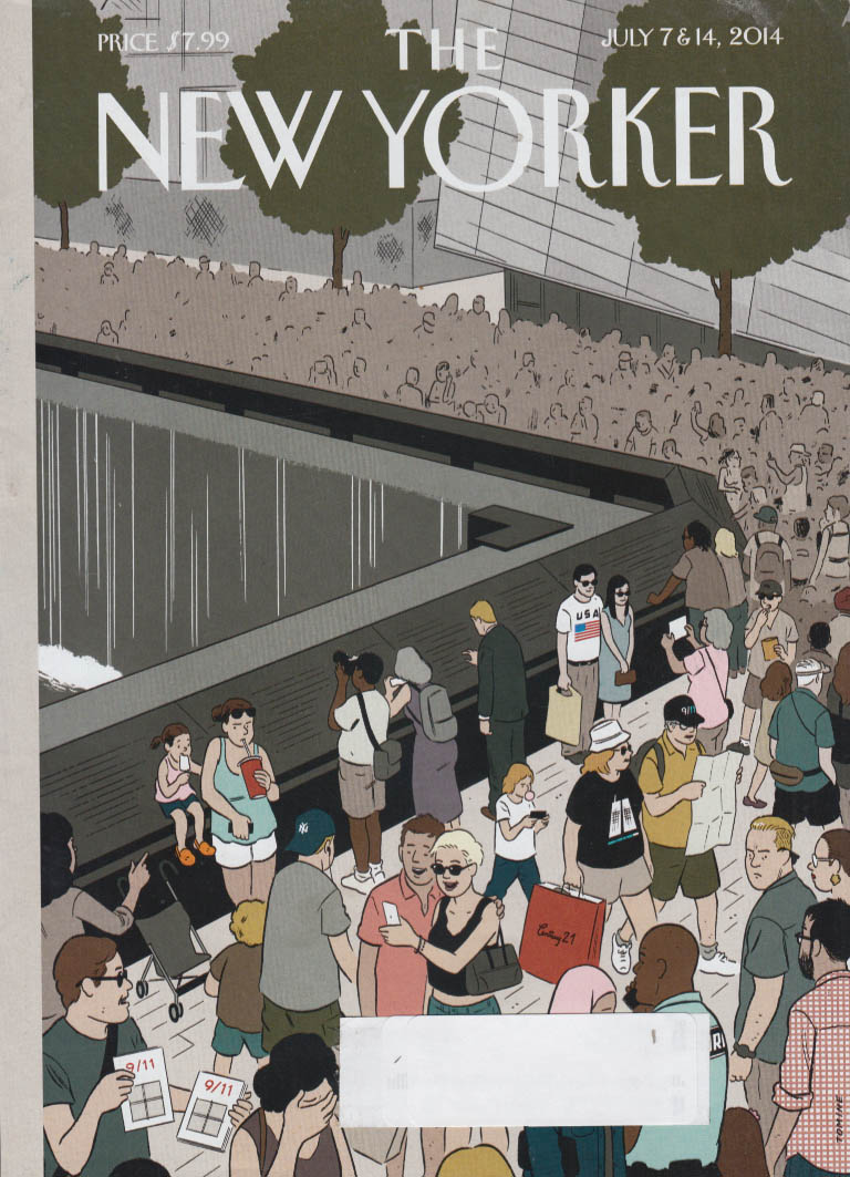 New Yorker cover 7/7-14 2014 Tomine: crowd at the 9/11 Memorial