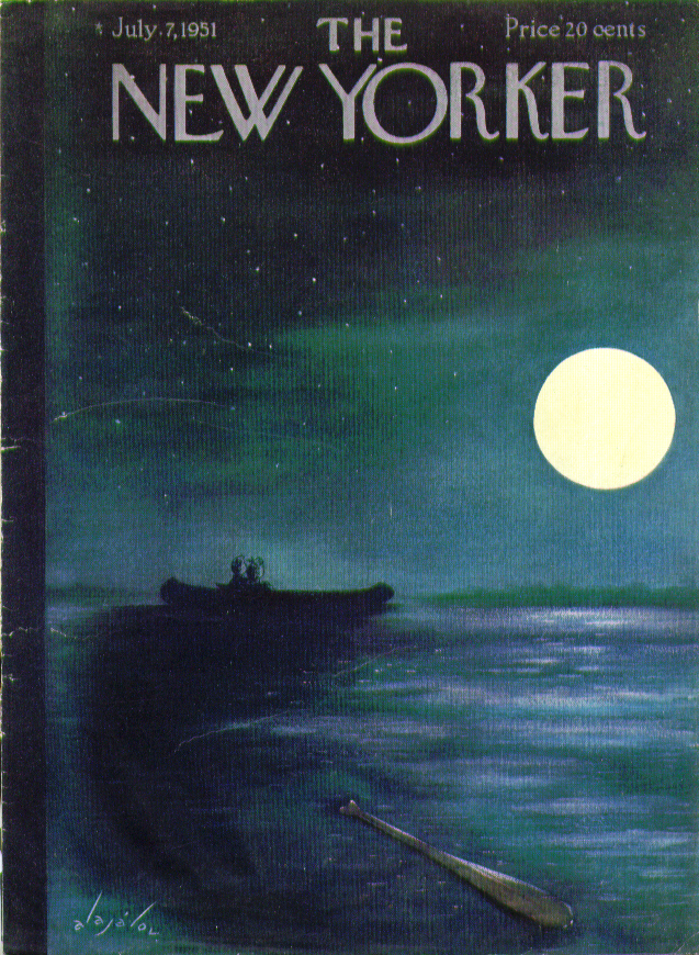 New Yorker cover Alajalov couple snuggles boat 7/7 1951