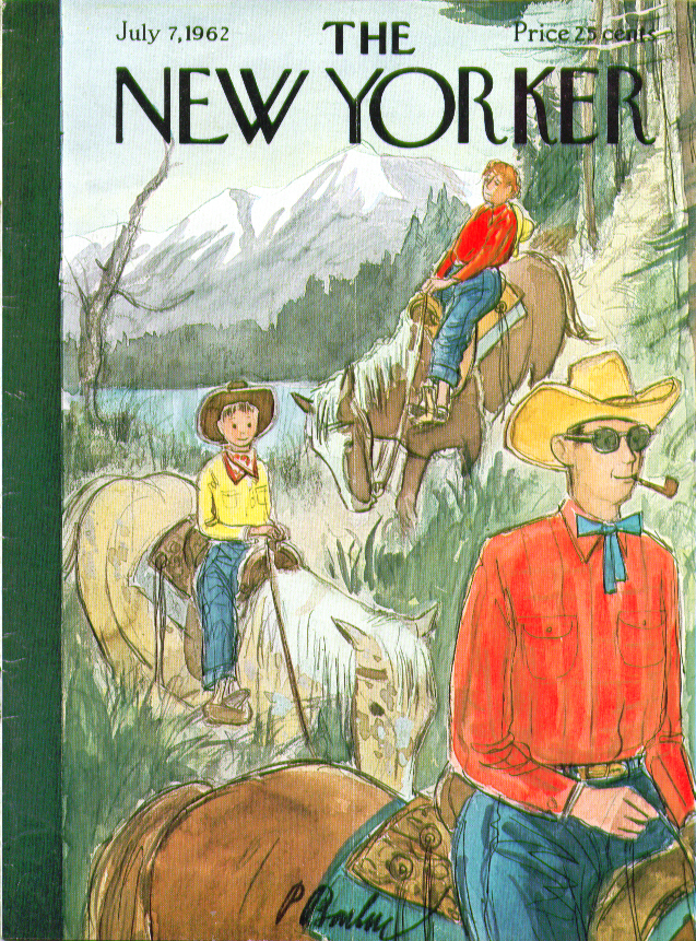 New Yorker cover Barlow family riding trails 7/7 1962