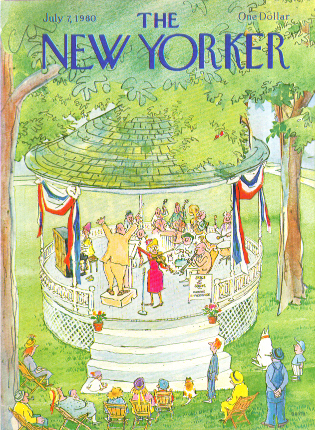 New Yorker cover Booth park bandstand concert 7/7 1980