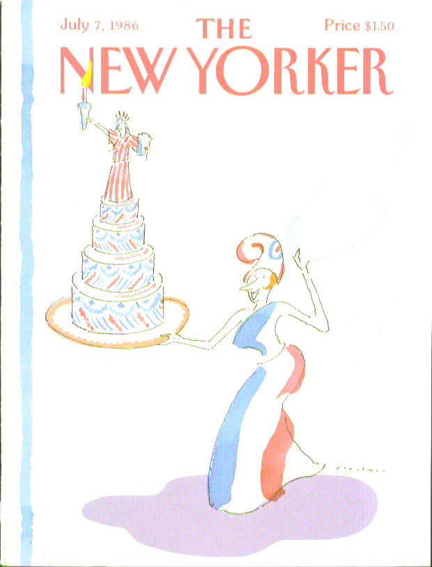 New Yorker cover Blechman Lady Columbia with Statue of Liberty cake 7/7 1986