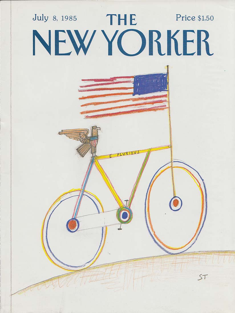 New Yorker cover 7/8 1985 Steinberg Eagle rides bicycle with Stars & Stripes