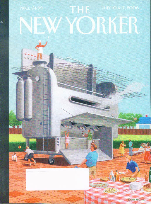 New Yorker cover McCall world's largest patio grill spews hotdogs 7/10-17 2006