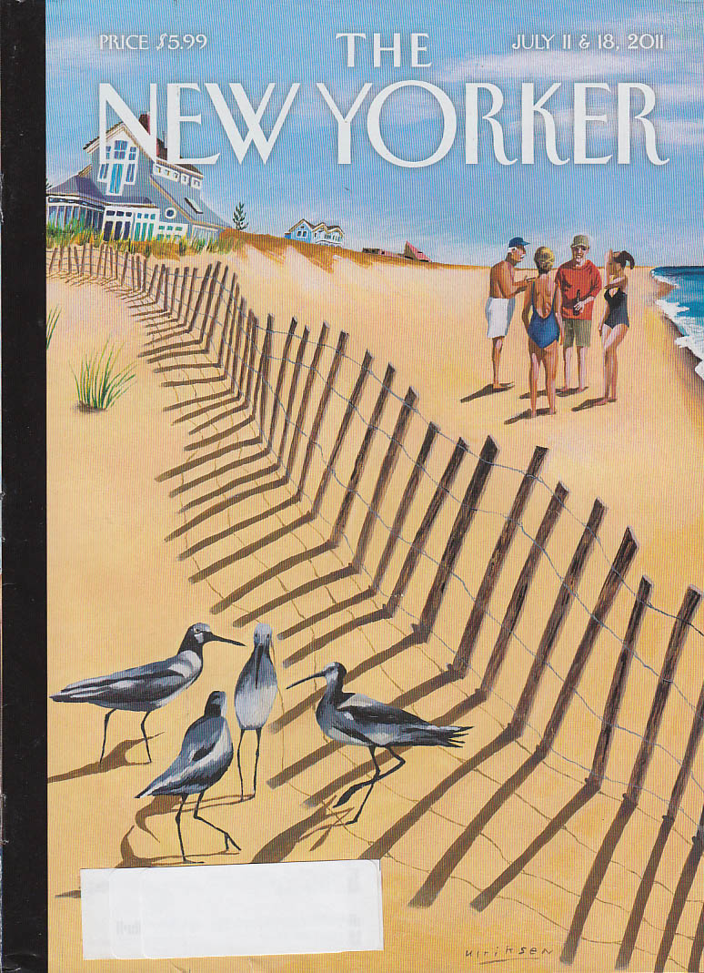 New Yorker cover 7/11 7/18 2011 Ulriksen: beach fence separates birds from folks