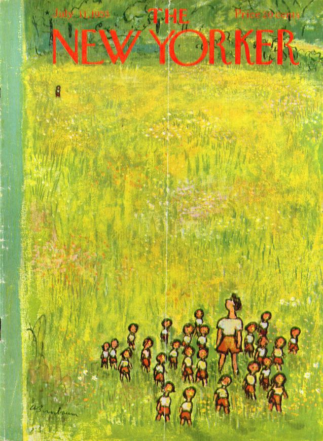 New Yorker cover Birnbaum summer camp meadow straggler 7/11 1953
