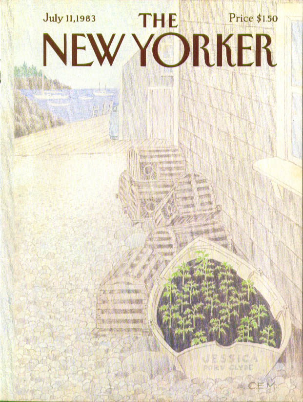 New Yorker cover CEM rowboat planter & lobster traps Port Clyde ME 7/11 1983