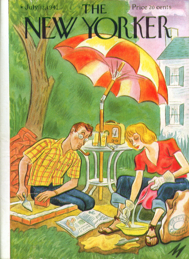 Image for New Yorker cover De Miskey outdoor grill build 7/12 1947