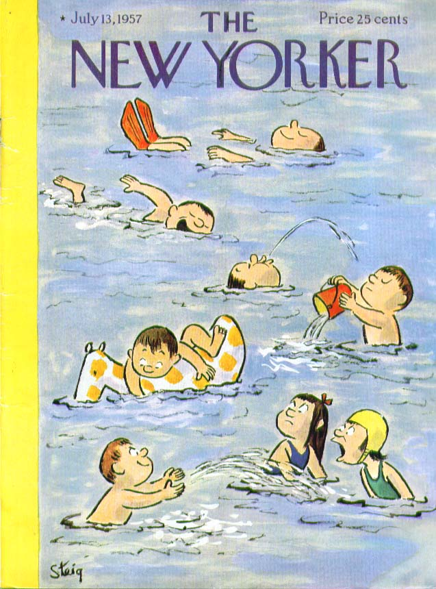 New Yorker cover Steig kids swimming 7/13 1957