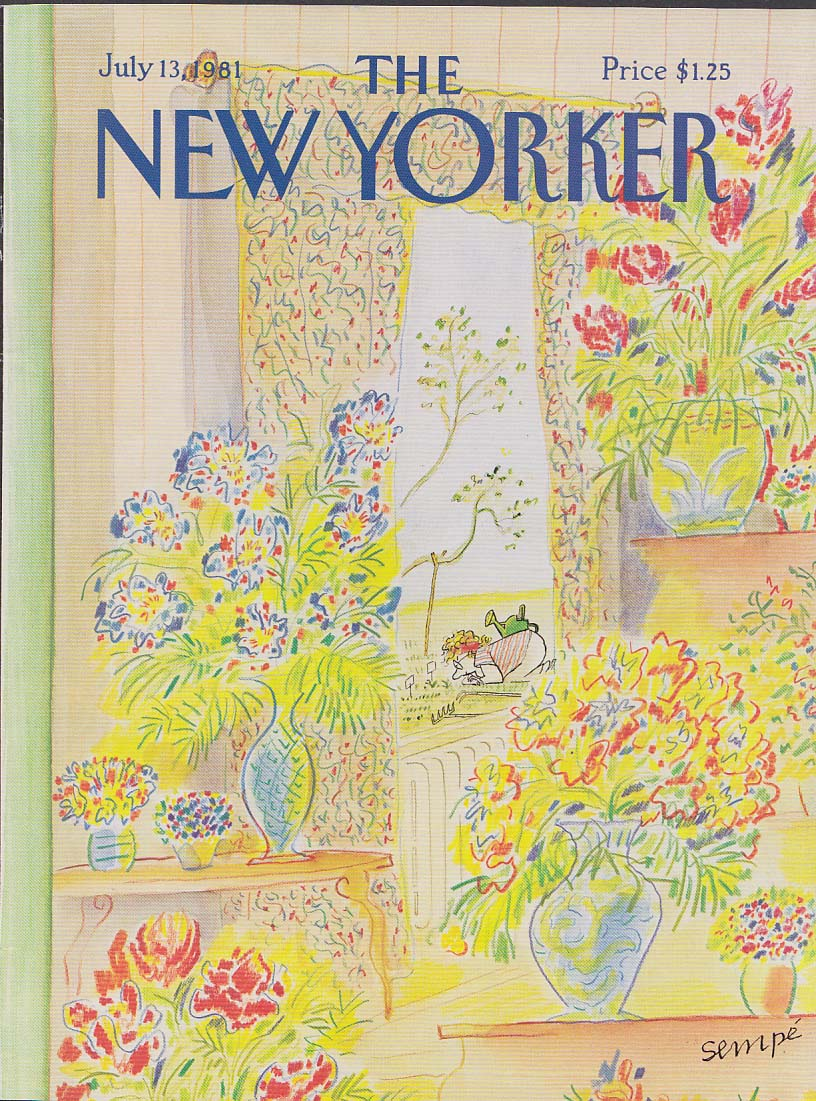 New Yorker cover 7/13 1981 Sempe House full of flowers gardener in the garden