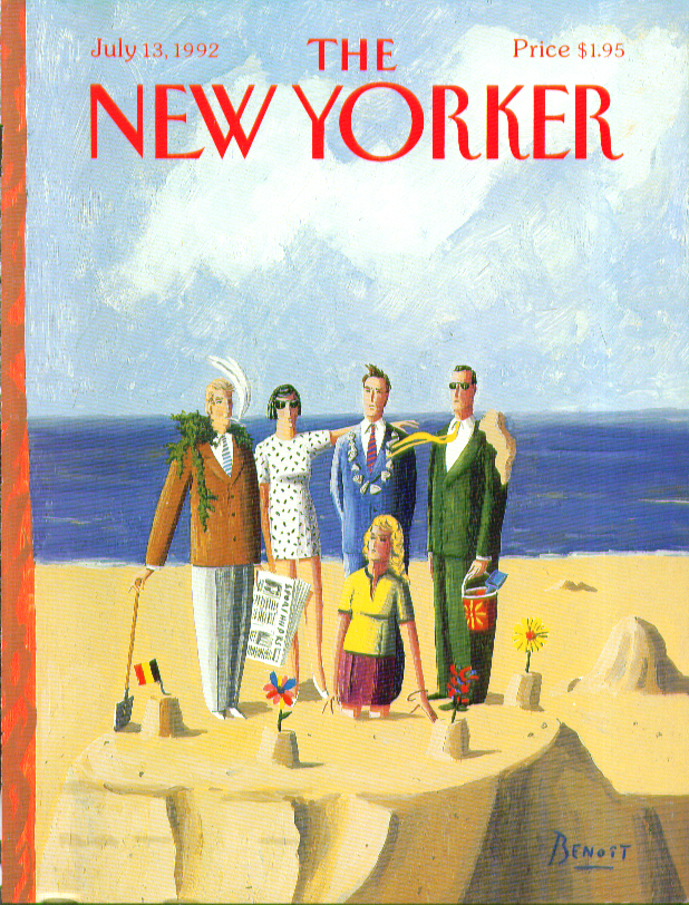 New Yorker cover Benoit Hamptons fops pose on their sandcastle 7/13 1992
