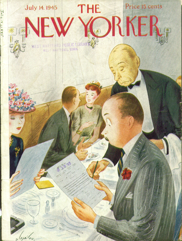 New Yorker cover Alajalov waiter crossing off 7/14 1945