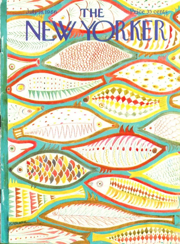 Image for New Yorker cover Karasz colorful fish montage 7/16 1966