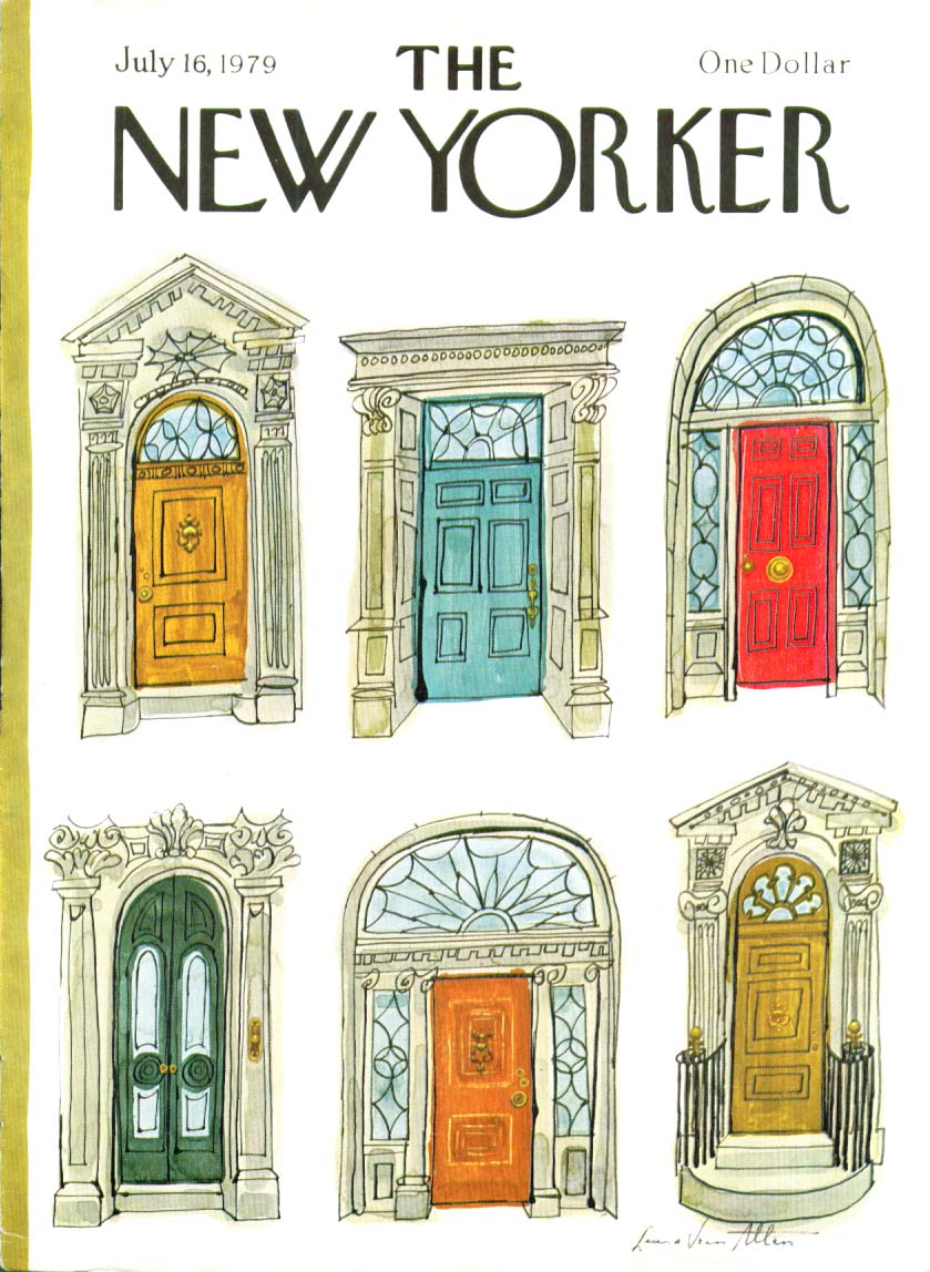 New Yorker cover Allen color brownstone doors 7/16 1979