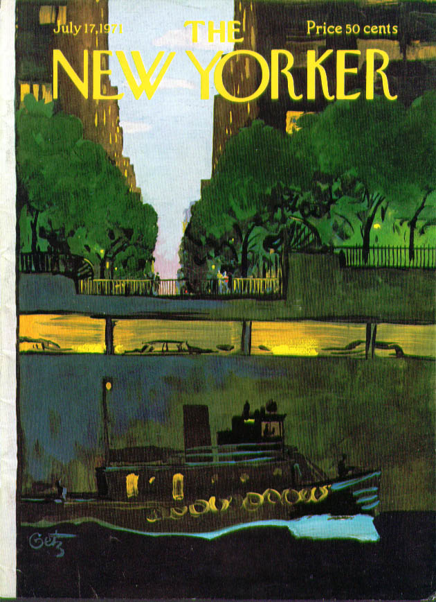 Image for New Yorker cover Getz tugboat riverside drive 7/17 1971