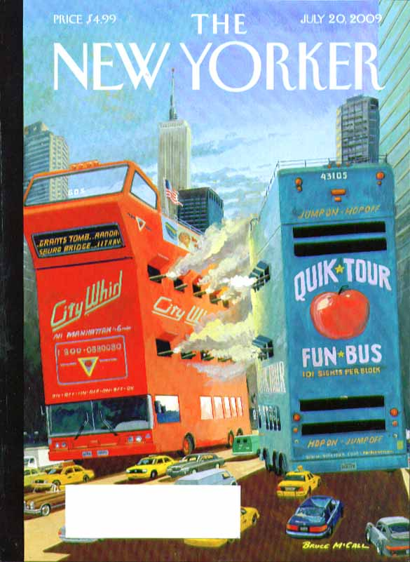 New Yorker cover Bruce McCall city tour bus cannon battle 7/20 2009