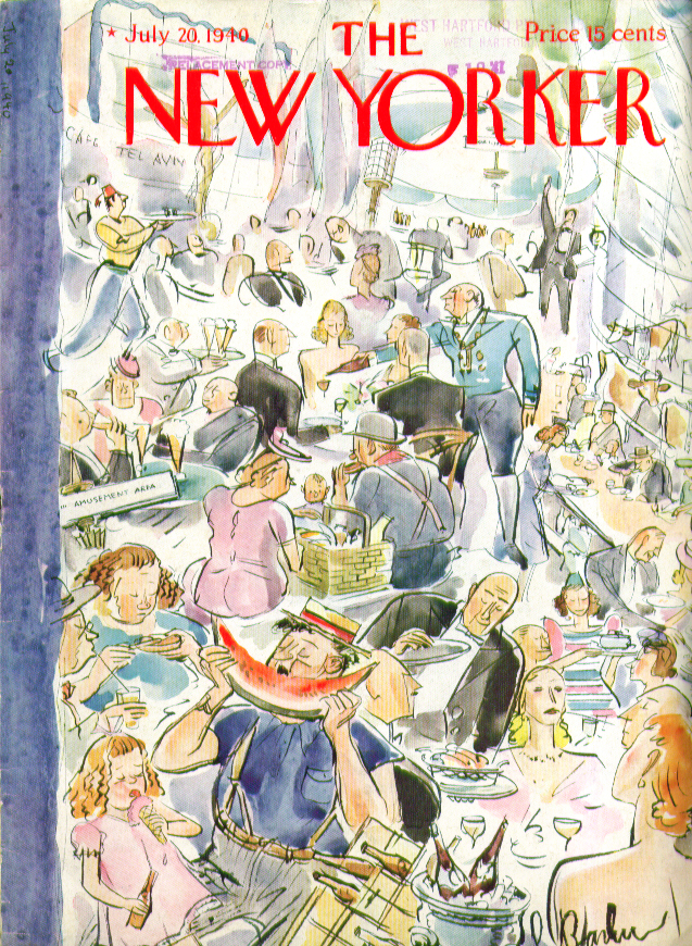 New Yorker cover Barlow families feasting 7/20 1940